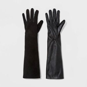 Women's Long Leather Tech Touch Gloves